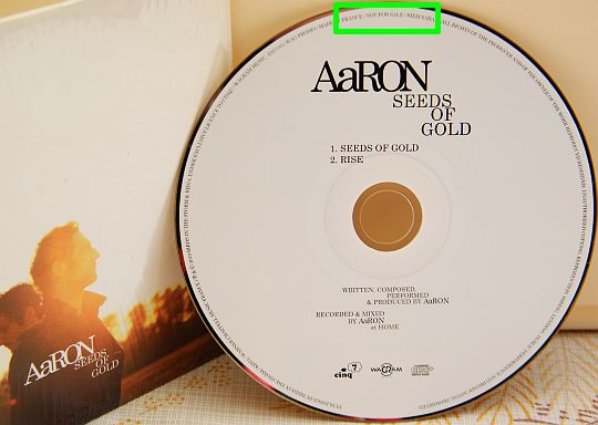 CD single Collector advance promo d'AaRON - Seeds of gold + Rise