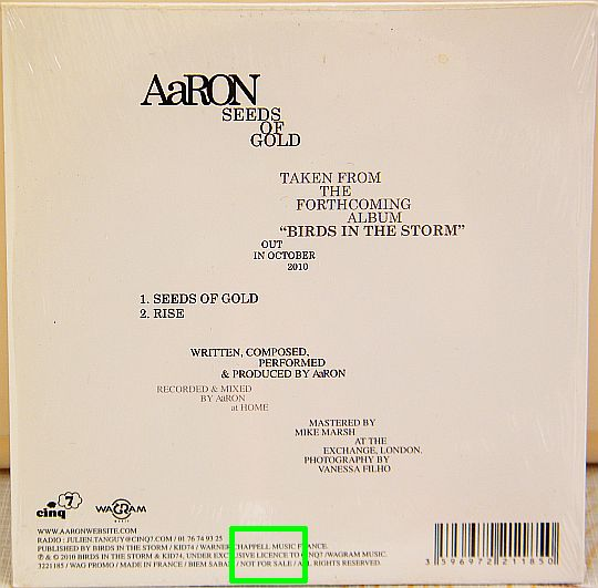 verso du CD Collector promo advance d'Aaron - Rise