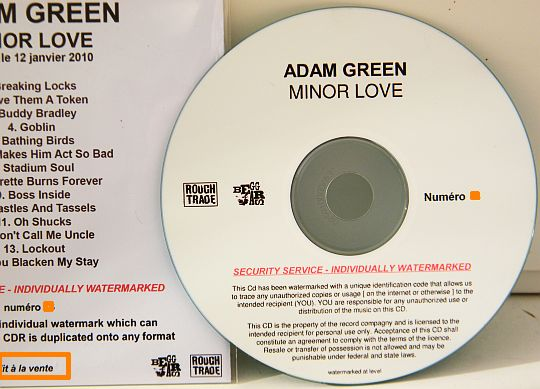 CD advance promo watermarké d'Adam Green - minor love