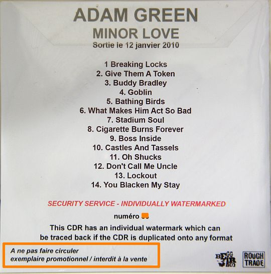 pochette verso du CD advance sampler promo d'Adam Green - Minor love