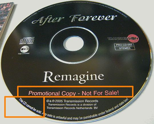 CD-ROM advance promo WMA d'AFTER FOREVER - Remagine