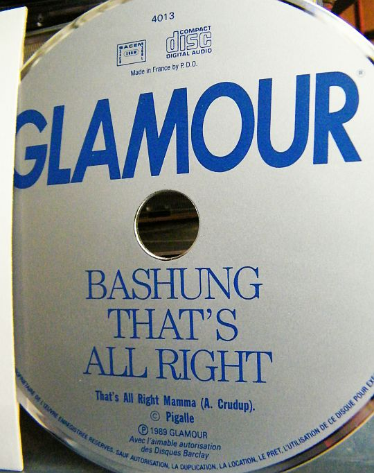CD promotionnel Collector monotitre d'Alain BASHUNG pour Glamour - That's all right title=