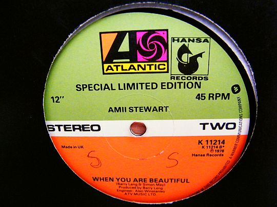 label central verso du maxi When you are beautiful par Amii Stewart