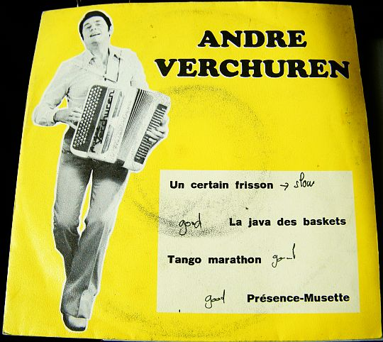 recto du super 45 tours Collector jaune d'André Verchuren - Un certain frisson