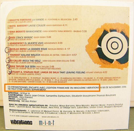 pochette verso du CD sampler Collector d'Arthur H pour Vibrations