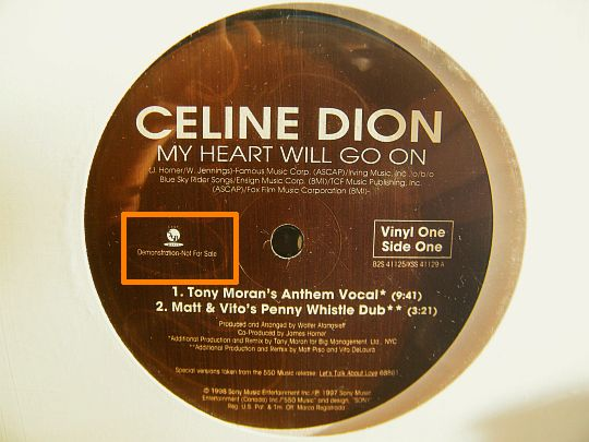 maxi 33 promo Céline Dion - My heart will go on face A