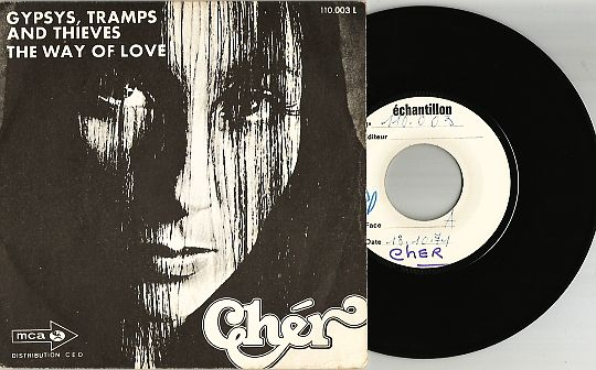 recto et 45t White Label de Cher - Gypsys, tramps and thieves