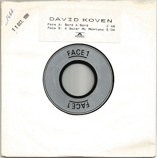 recto du 45 tours Test Pressing de David Koven - Bord à bord