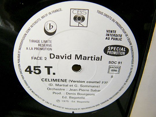 maxi 45 tours promotionnel Collector de David MARTIAL - Célimène en version courte spécial FM