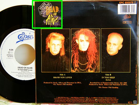 verso avec tampon promo et face B du 45 tours Collector promo des Dead Or Alive - In too deep (live)