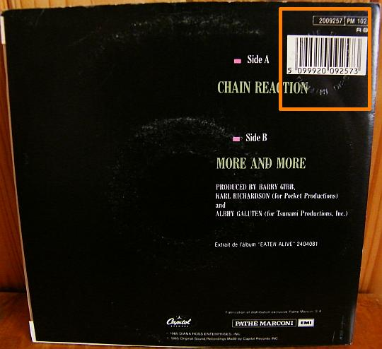 verso pochette du single promo de Diana Ross - chain reaction