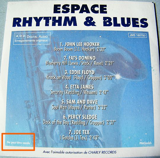verso du CD Collector Espace Rhythm And Blues - Volume 2