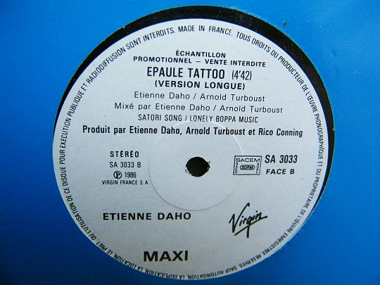 face B du maxi 45 tours promo Collector d'Etienne Daho - Epaule tattoo