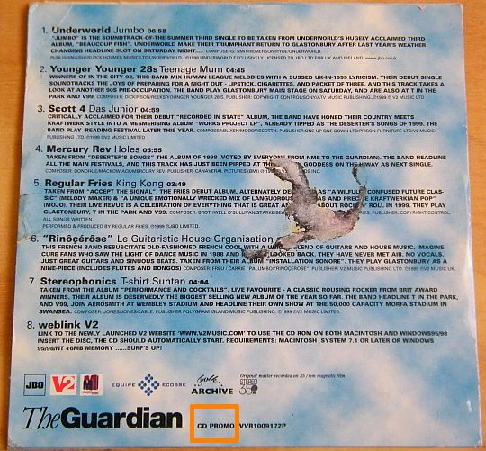 verso de la pochette du CD sampler promo collector Glastonbury par The Guardian