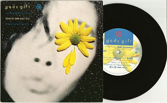 45t et pochette recto promo Love to see you cry par God's Gift