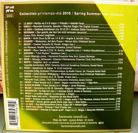 verso du CD sampler Collector promo HM News 2010 printemps été