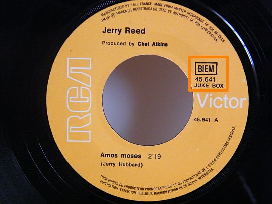 face A du 45 tours Collector de Jerry Reed offert par Pénélope