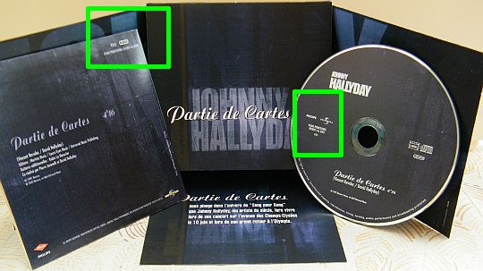 rare CD promotionnel monotitre interdit à la vente Partie de cartes de Johnny Hallyday