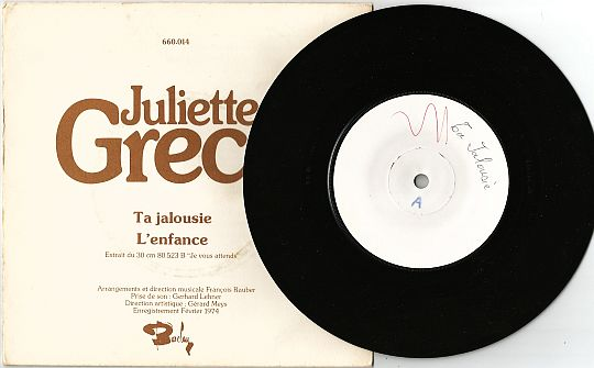 recto du 45 tours promo White Label de Juliette Gréco - Ta jalousie