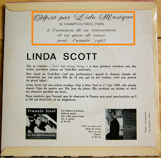 verso pochette Linda Scott Collector