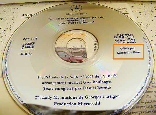 CD publicitaire-promotionnel Collector Mercedes Benz 190