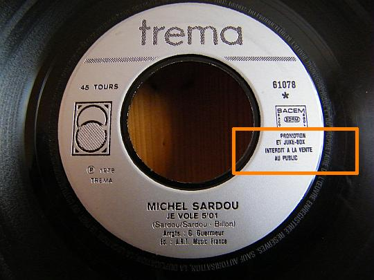 face 1 Je vole du 45 tours promo collector de Michel SARDOU