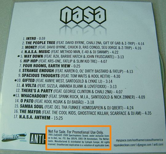tracklist du CD promo advance de NASA - The spirit of Apollo
