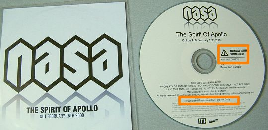 CD promo advance Collector de N.A.S.A. The spirit of Apollo