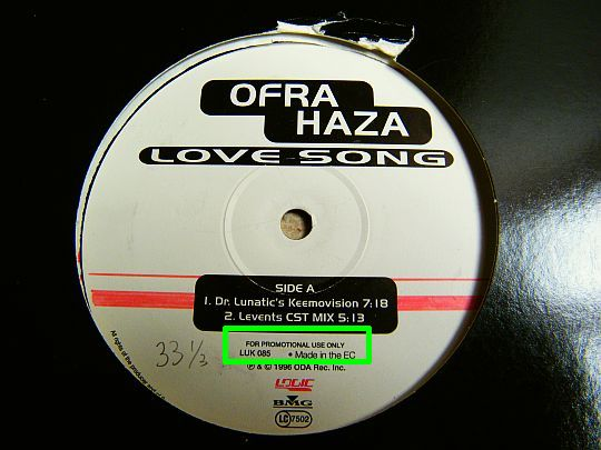 face A du maxi 33 tours Collector promo 30 cm d'Ofra Haza - Love song, remixes de Dr. Lunatic Keemovision et Levents CST