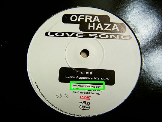face B du maxi 33 Collector promo d'Ofra Haza - Love song remixé par John Acquaviva