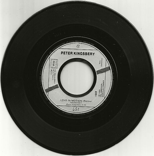 45 tours monotitre Collector de Peter Kingsbery - Love in motion remix radio edit