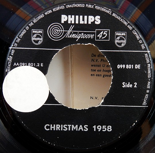 Christmas 1958, label Philips Minigroove 45 face B