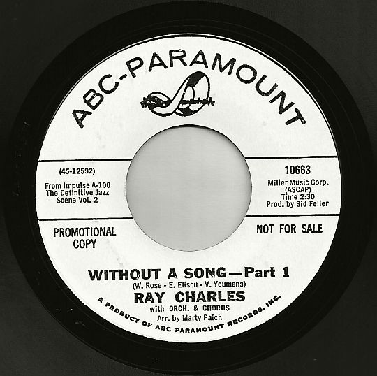face 1 du 45t promo de Ray Charles - Without a song part 1