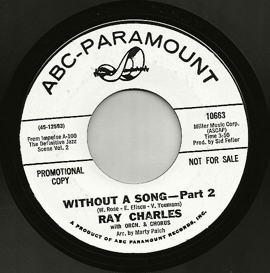 face B du 45t promo de Ray Charles - Without a song part 2