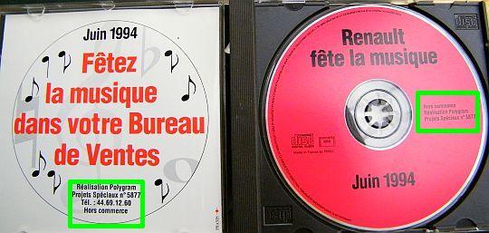 renault f te la musique juin 1994 compilation hors commerce 10 titres dans poesie. Black Bedroom Furniture Sets. Home Design Ideas