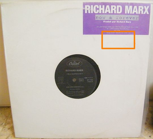 pochette du maxi 45t Collector de Richard Marx - Now and forever