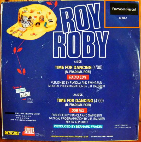 verso du 45 tours Collector promo de Roy Roby - Time for dancing