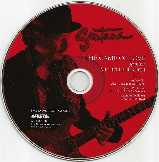 disque monotitre promo de Santana avec Michelle Branch - The game of love