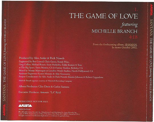 verso du CD monotitre promo de Santana avec Michelle Branch - The game of love