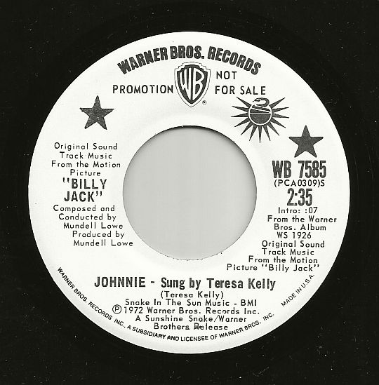 face A du 45t promo de Teresa Kelly - Johnnie (BO du Film Billy Jack)