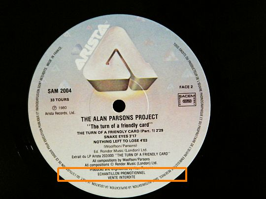 face B du sampler promo d'Alan Parsons Project - The turn of a friendly card vente interdite