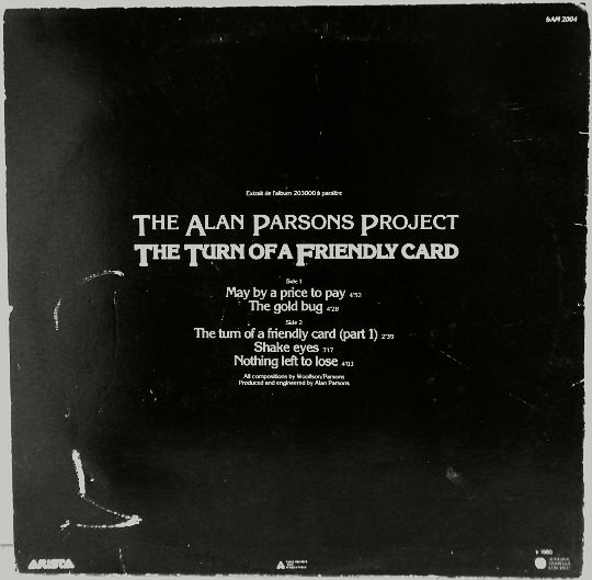 pochette verso du sampler promo Collector d'Alan Parsons Project - The turn of a friendly card