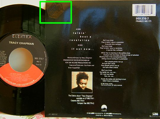 verso du 45 tours promo Collector de Tracy Chapman - If not now