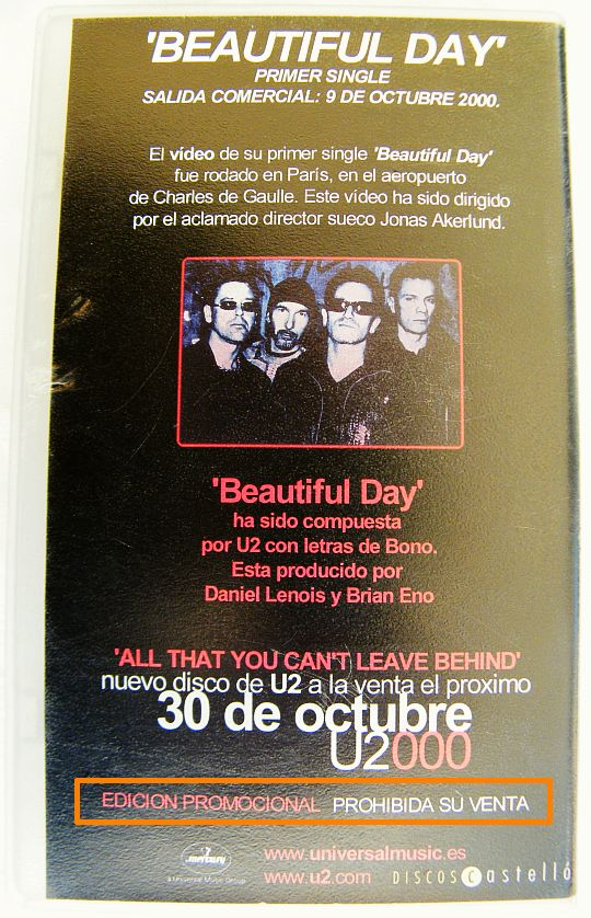 pochette collector verso de la VHS espagnole promo de U2 - Beautiful day