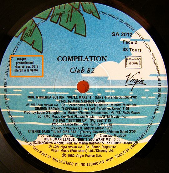 compilation promo Virgin Club 82 face 2