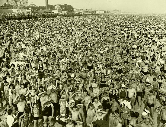 crowd at coney island, weegee